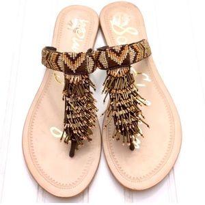 Sam Edelman Anella boho beaded fringe thong sandal